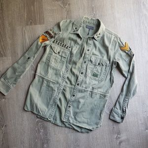 Kendall & Kylie Army Green Military Jacket Coat